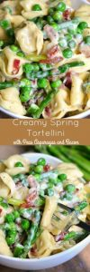 Creamy Spring Tortellini with Peas Asparagus and Bacon Recipe