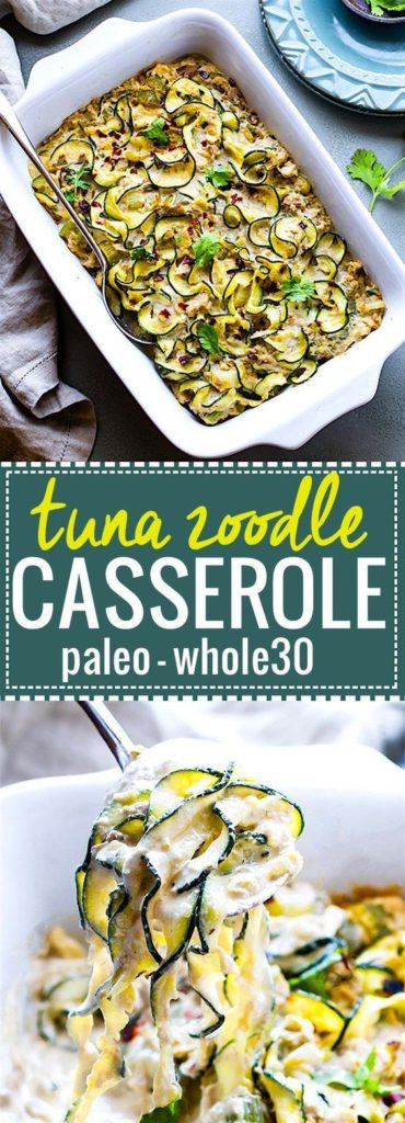 EASY Paleo Tuna Green Chile Zoodle Casserole Recipe (Whole 30 Approved)