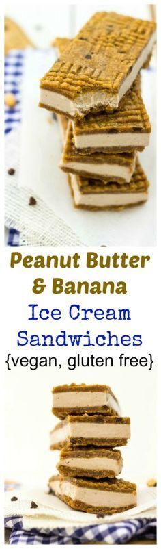 Peanut Butter & Banana Ice Cream Sandwiches Recipe (gluten free + vegan)