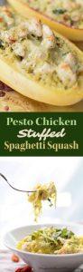 Pesto Chicken Stuffed Spaghetti Squash for Two