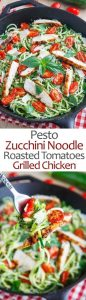Pesto Zucchini Noodles with Roasted Tomatoes and Grilled Chicken Recipe