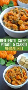 Red Lentil, Sweet Potato, and Carrot Vegan Chili Recipes