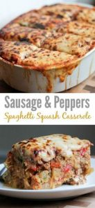 Sausage and Peppers Spaghetti Squash Casserole Recipe