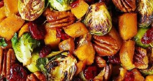Thanksgiving Butternut Squash Salad with Roasted Brussels sprouts, Pecans, and Cranberries