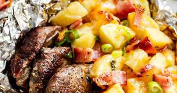Garlic Steak & Cheesy Bacon Potato Hash Foil Packs