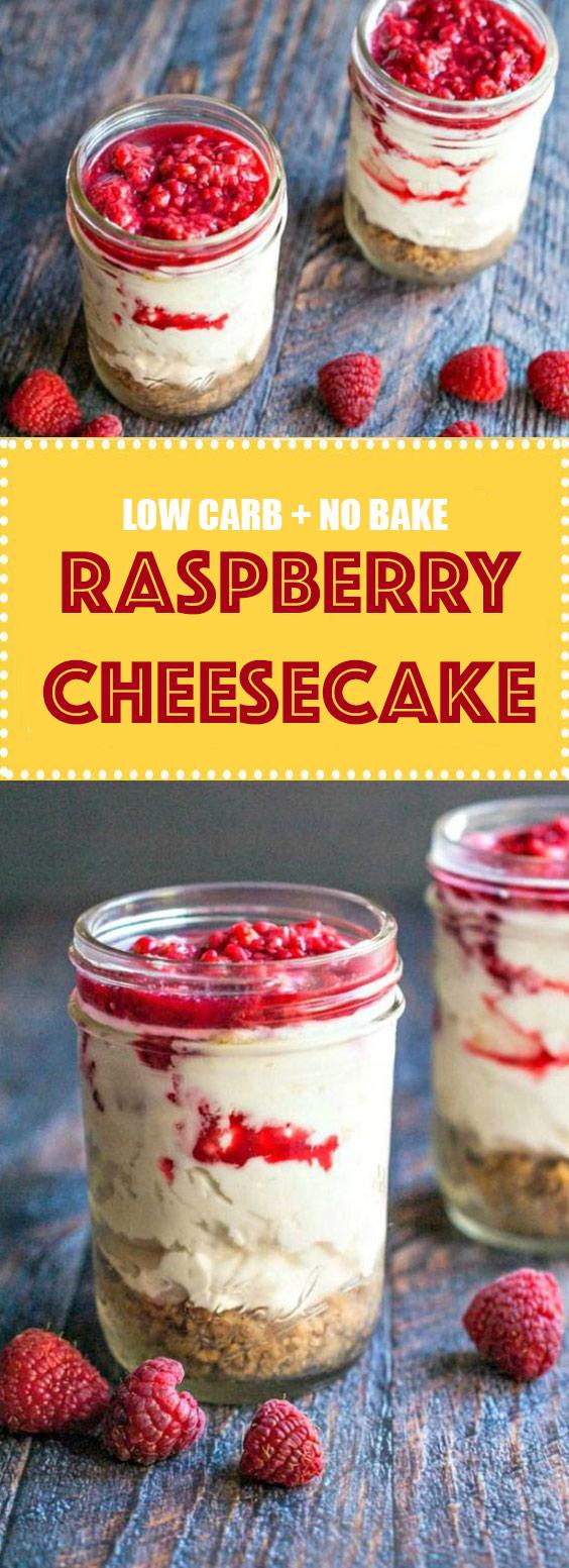 Low Carb Raspberry No Bake Cheesecake
