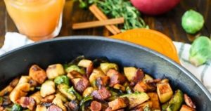 Chicken, Apple, Sweet Potato, and Brussels Sprouts Skillet