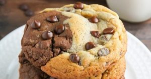 Chocolate Chip Brownie Swirl Cookies