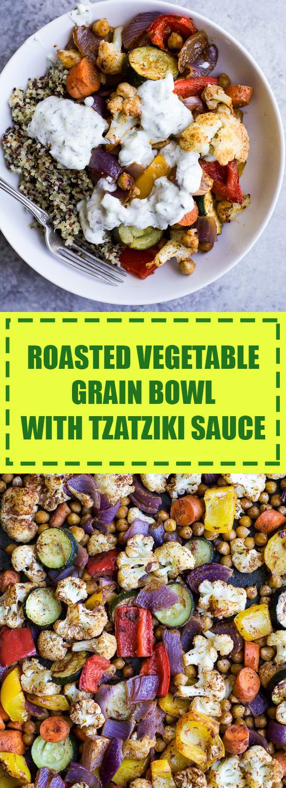 Roasted Vegetable Grain Bowl with Tzatziki Sauce