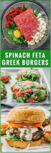 Greek Burgers with Spinach, Feta, and Sun-dried Tomatoes Recipe
