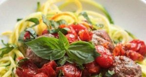 Gluten Free & Whole30 Italian Meatballs with Zoodles