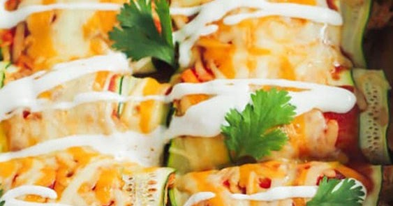 Low Carb & Gluten Free Chicken Zucchini Enchilada