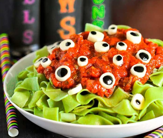Halloween Dinner Eyeball Pasta