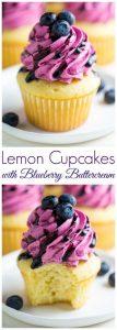 Lemon Cupcakes with Fresh Blueberry Buttercream