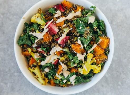 Roasted Veggie & Quinoa Salad with Tahini Garlic Dressing