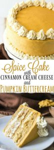 Spice Cake with Cinnamon Cream Cheese and Pumpkin Buttercream Recipe