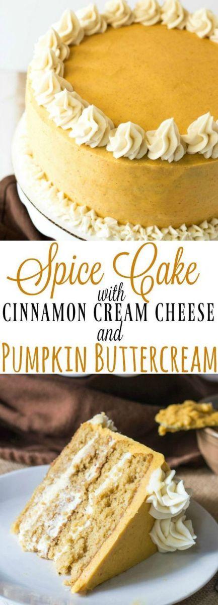Spice Cake with Cinnamon Cream Cheese and Pumpkin Buttercream Recipe